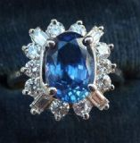 Wonderful 18ct 18k white gold 1.75ct sapphire and diamonds 1970's cluster vintage antique ring